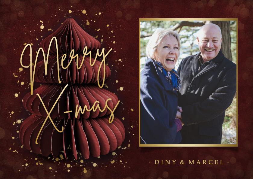 Fotokaarten - Fotokaart kerstmis - bordeaux rood met kerstboom en foto
