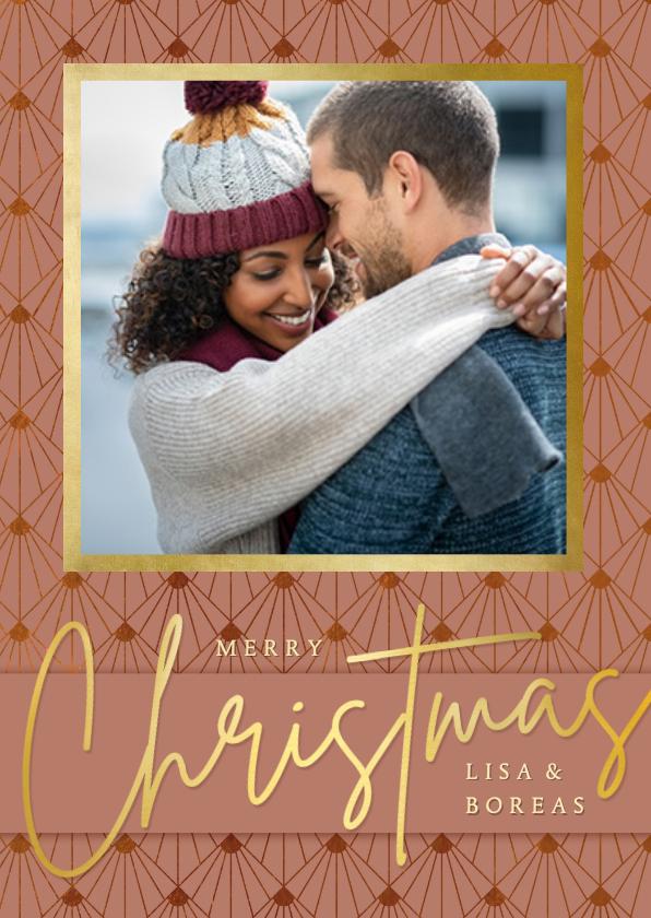 Fotokaarten - Fotokaart kerstmis in art-deco stijl met roze en goud