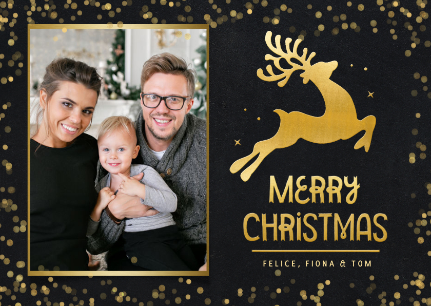 Fotokaarten - Fotokaart kerstmis - kerstkaart met rendier in goud en foto