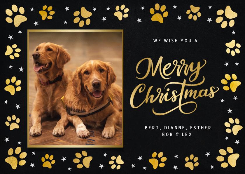Fotokaarten - Fotokaart kerstmis - met foto van hond en gouden pootafdruk
