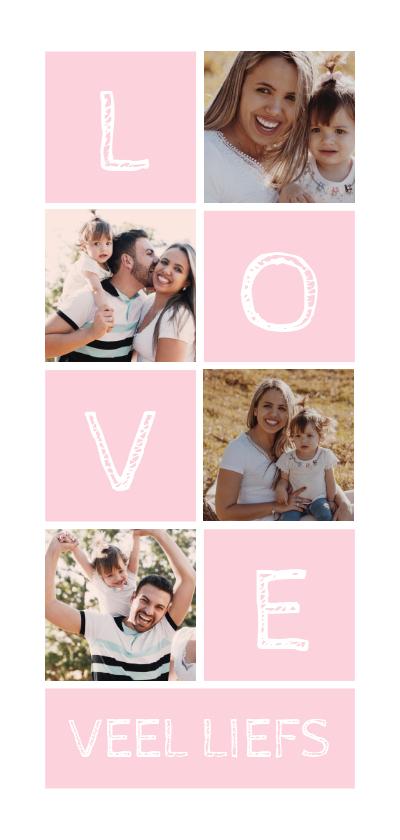 Fotokaarten - Fotokaart langwerpig LOVE met vakjes en foto's