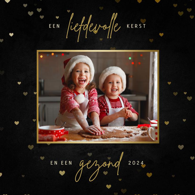Fotokaarten - Fotokaart liefdevolle kerst met hartjes krijtbord