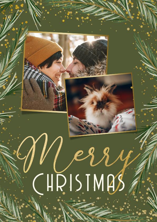 Fotokaarten - Fotokaart Merry Christmas 2 foto's dennentakjes