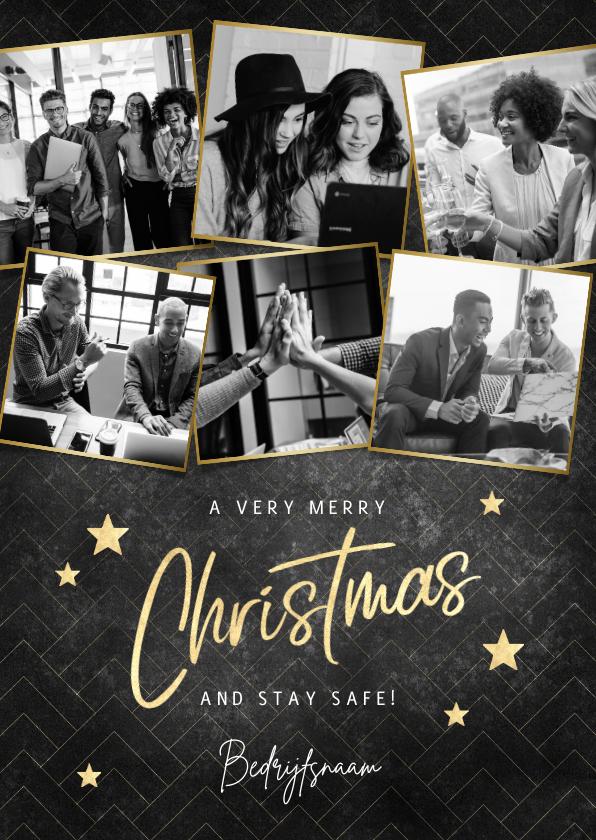 Fotokaarten - Fotokaart Merry Christmas, gouden sterren en patroon