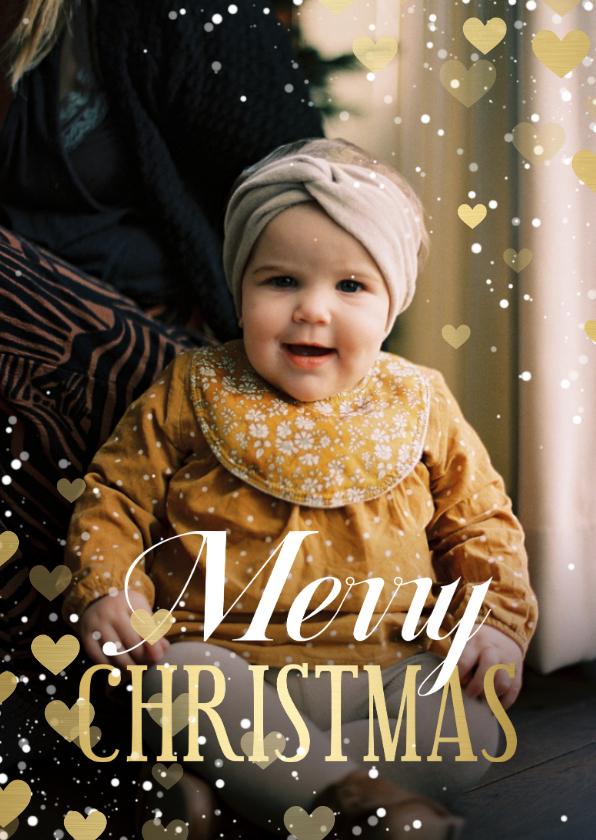 Fotokaarten - Fotokaart Merry Christmas hartjeskader met confetti