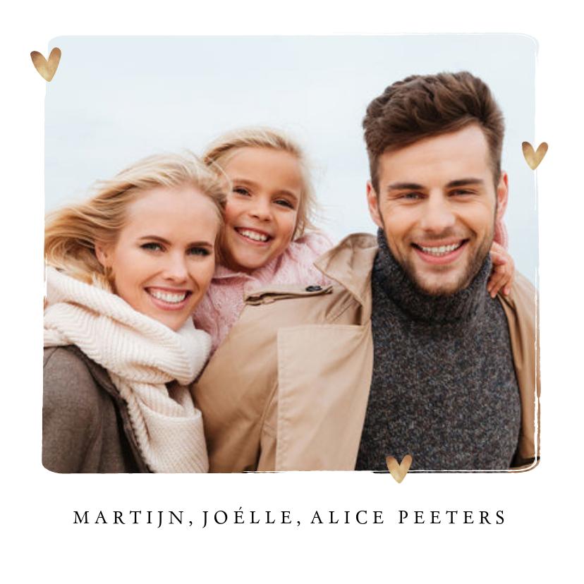 Fotokaarten - fotokaart merry christmas kalligrafie foto hartjes goud