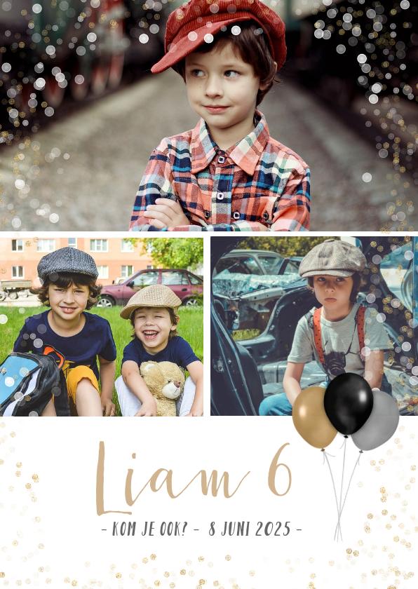Fotokaarten - Fotokaart met 3 foto's en feestthema ballonnen en confetti