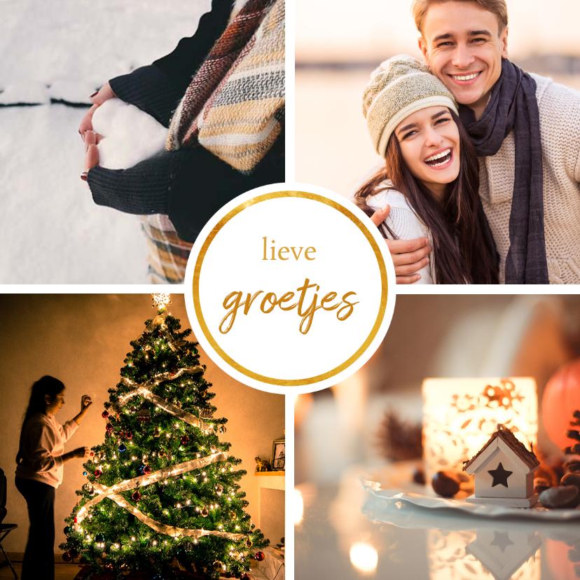 Fotokaarten - Fotokaart met 4 foto's vierkant 'Fijne kerst'