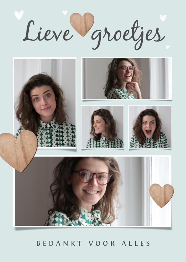 Fotokaarten - Fotokaart met 5 foto's hartjes en lieve groetjes