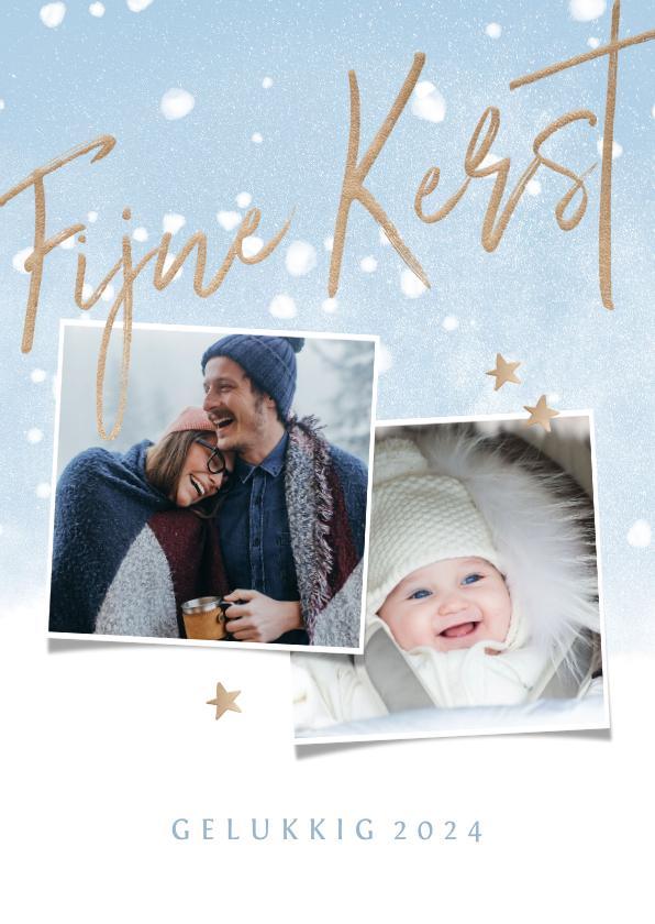 Fotokaarten - Fotokaart met een koperkleurige Fijne Kerst