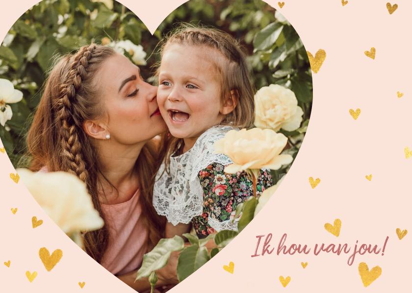 Fotokaarten - Fotokaart met gouden hartjes en foto in hartvorm