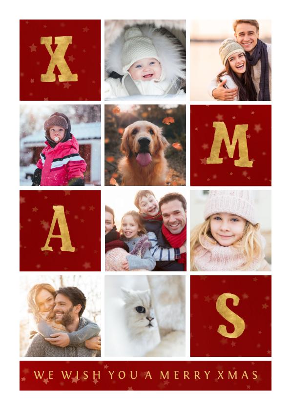 Fotokaarten - Fotokaart met gouden XMAS met vakjes en foto's