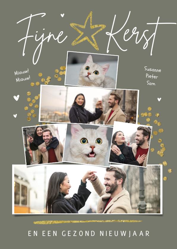 Fotokaarten - Fotokaart met kerstboom fotocollage sterren confetti goud