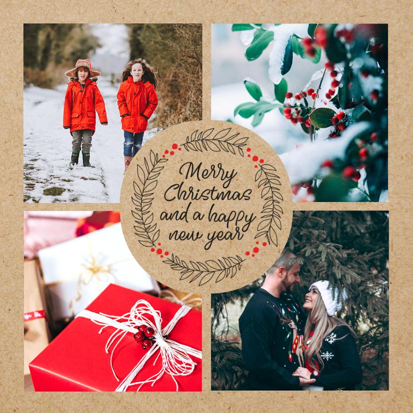 Fotokaarten - Fotokaart met kerstgroet en kraft
