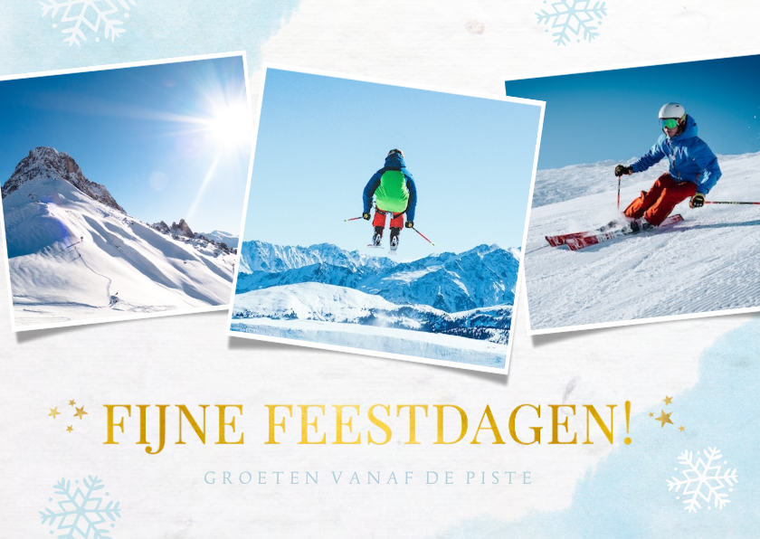 Fotokaarten - fotokaart met sneeuwvlokken 3 eigen foto's