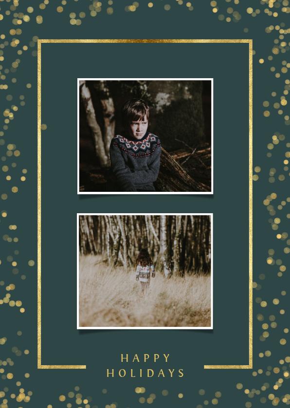 Fotokaarten - Fotokaart met twee foto's en goudlook kader