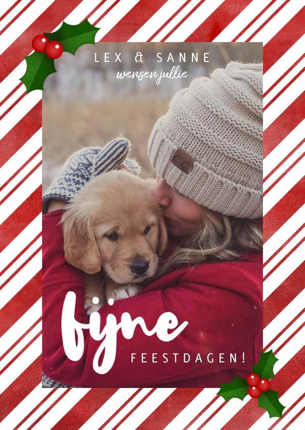 Fotokaarten - Fotokaart met zuurstok kader, grote foto & kersthulst