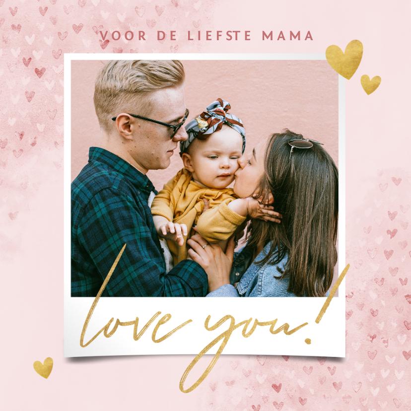 Fotokaarten - Fotokaart moederdag met hartjes, waterverf Love you!