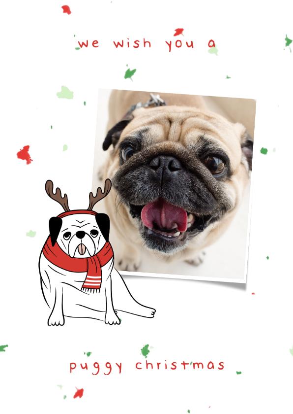 Fotokaarten - Fotokaart puggy christmas humor met confetti