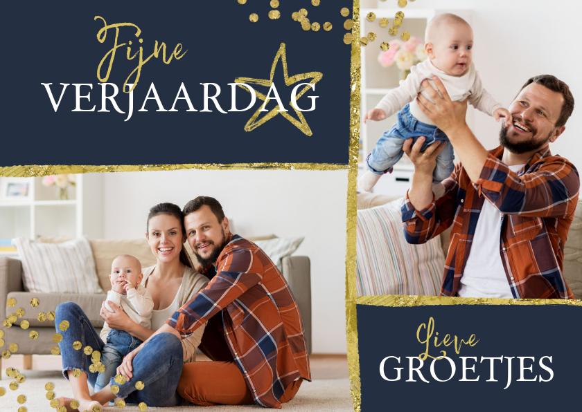 Fotokaarten - Fotokaart sterren gouden confetti
