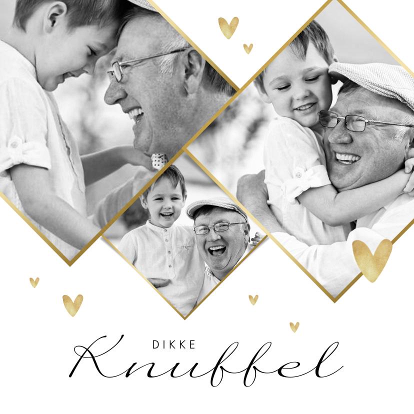 Fotokaarten - Fotokaart stijlvol dikke knuffel goud hartjes