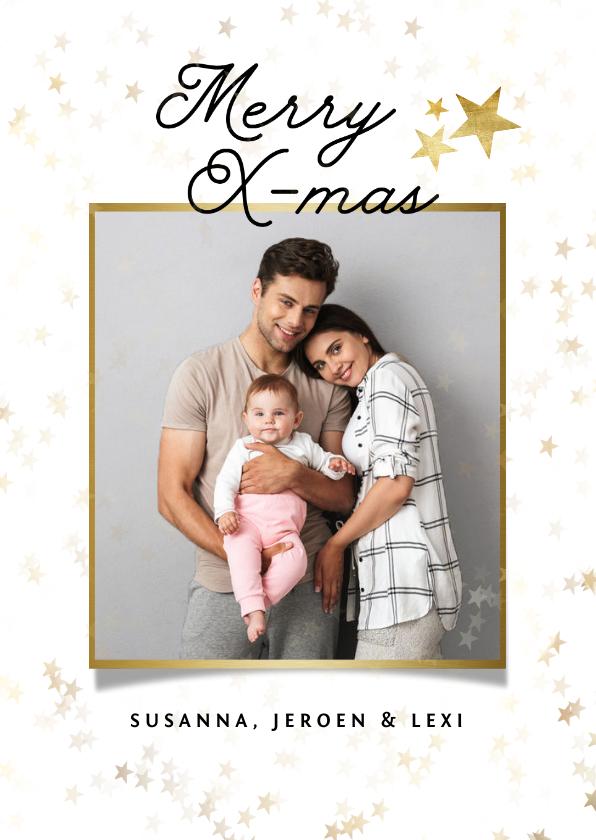 Fotokaarten - Fotokaart stijlvol sterren merry christmas foto goud