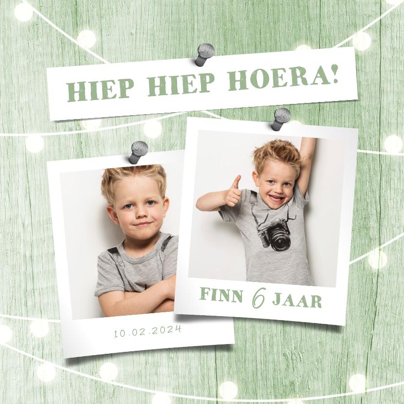 Fotokaarten - Fotokaart uitnodiging houtlook groen lampjes met foto