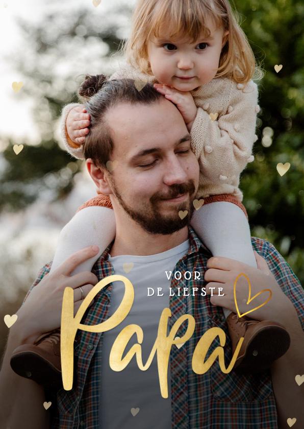 Fotokaarten - Fotokaart vaderdag met 1 grote foto en gouden hartjes