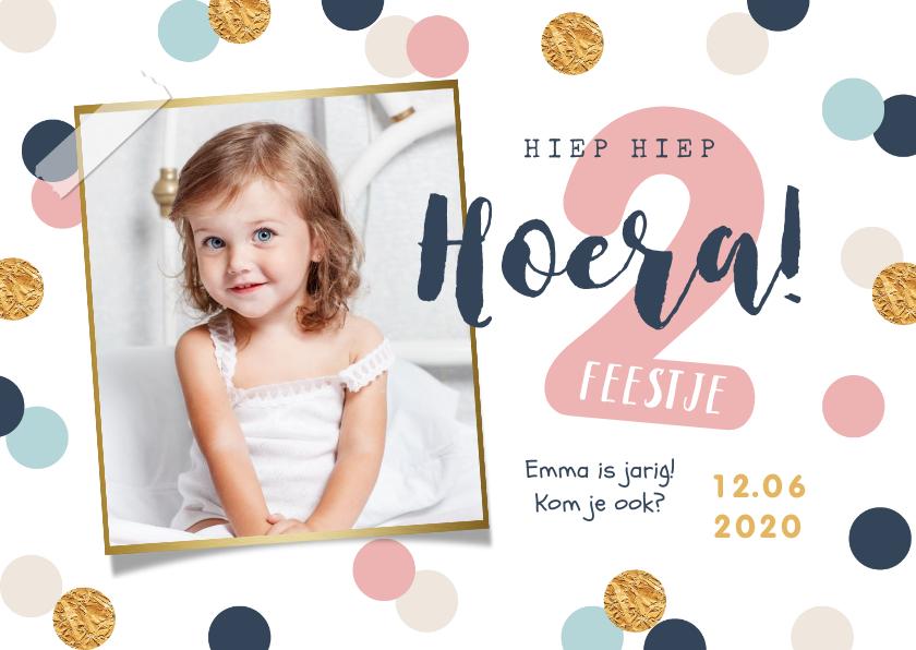 Fotokaarten - Fotokaart verjaardag kind meisje confetti goud vrolijk