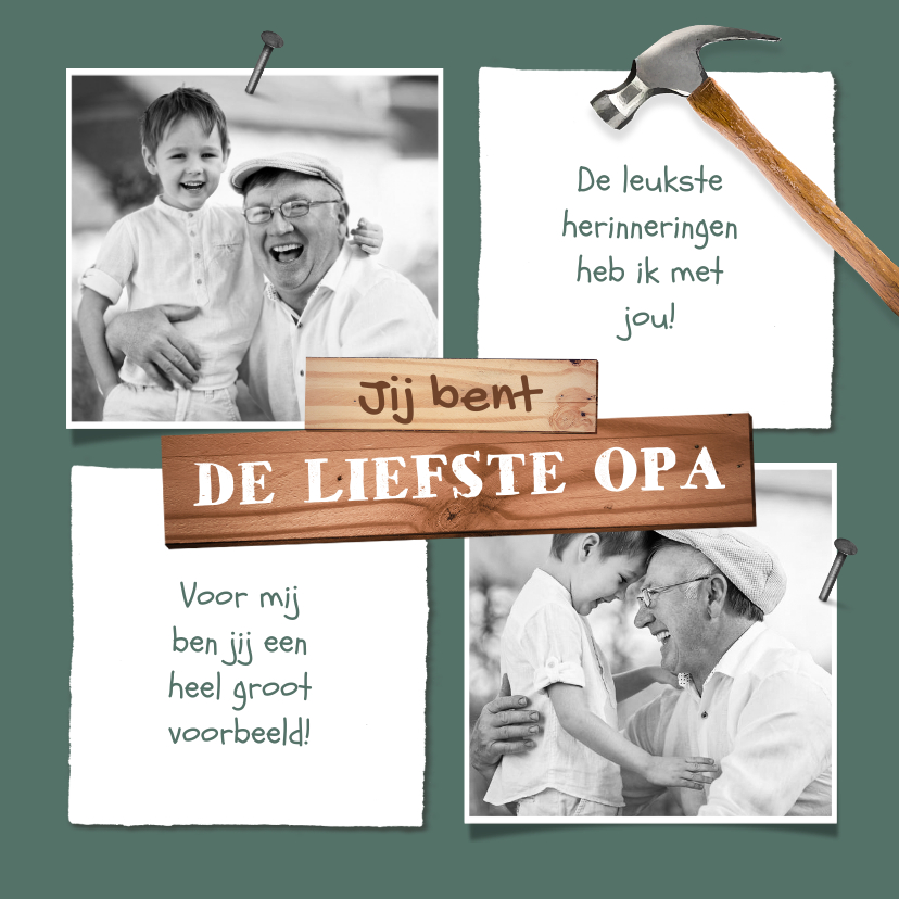 Fotokaarten - Fotokaart voor opa klussen hout stoer foto's