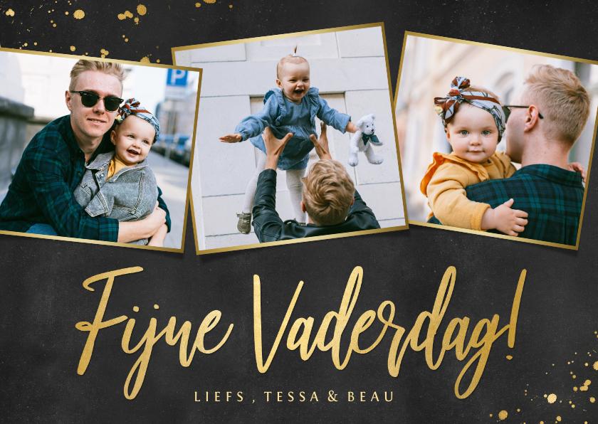 Fotokaarten - Fotokaart zwart en goud voor vaderdag met 3 eigen foto's