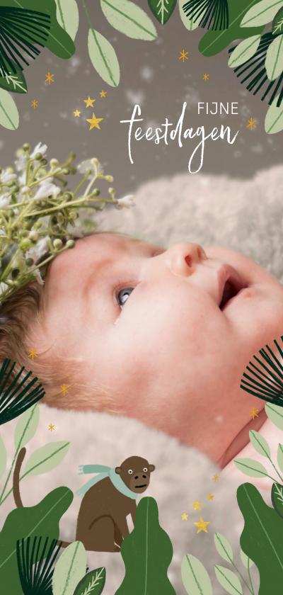 Fotokaarten - Hippe kerstkaart jungle met grote foto en bladeren