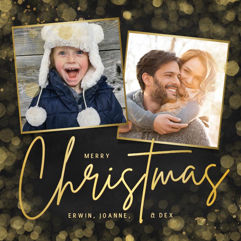 Fotokaarten - Hippe kerstkaart met 2 eigen foto's - zwart met goud