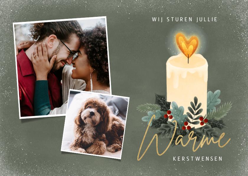 Fotokaarten - Kerst fotokaart met kaarsje, kersttakjes en hartvormige vlam