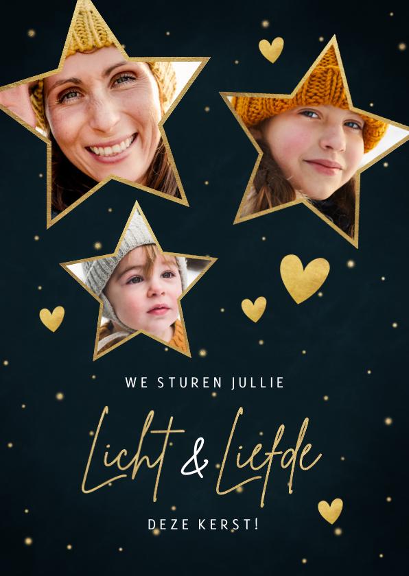 Fotokaarten - Kerst fotokaart met sterren, hartjes Licht & Liefde