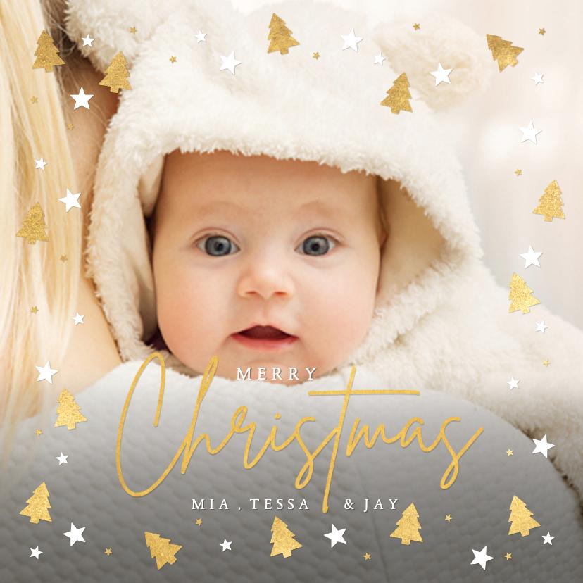 Fotokaarten - Kerstkaart met 1 grote foto en kerstbomen kader rondom