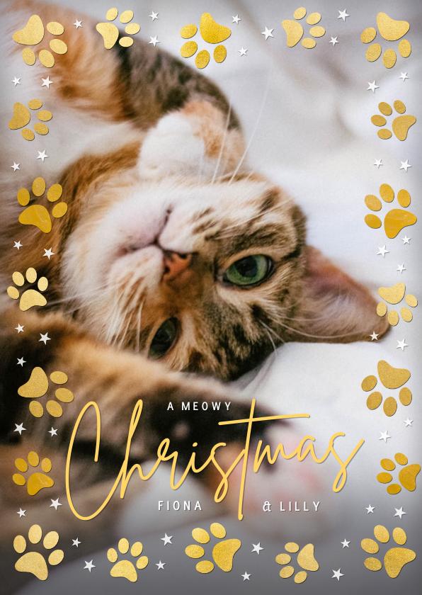 Fotokaarten - Kerstkaart met grote foto kat of hond en pootafdrukjes