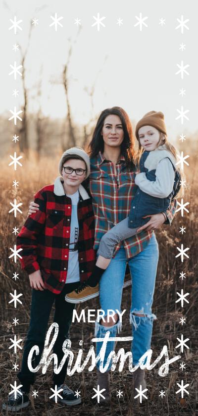 Fotokaarten - Lange fotokaart met sterren en christmas wens