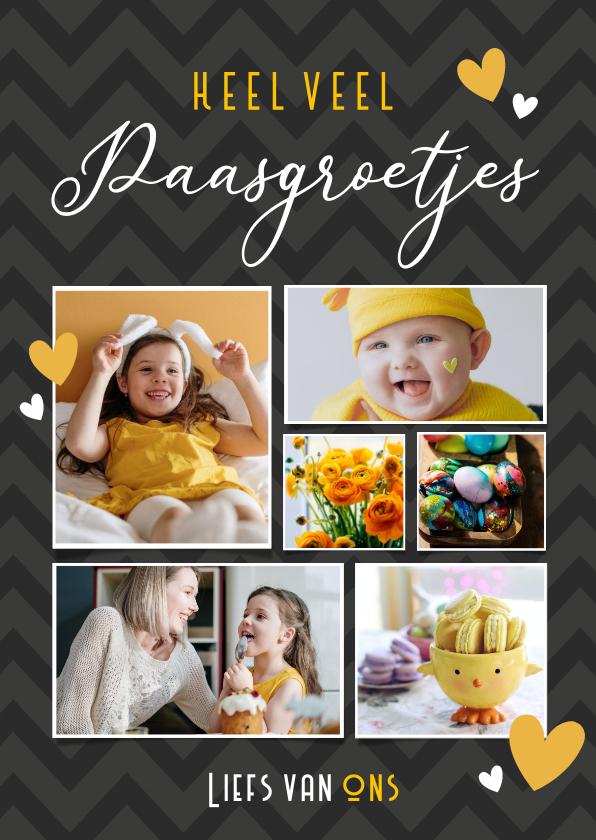 Fotokaarten - Leuke fotocollage kaart voor pasen met 6 eigen foto's