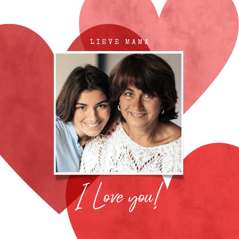 Fotokaarten - Lieve fotokaart voor moederdag met rode en roze hartjes