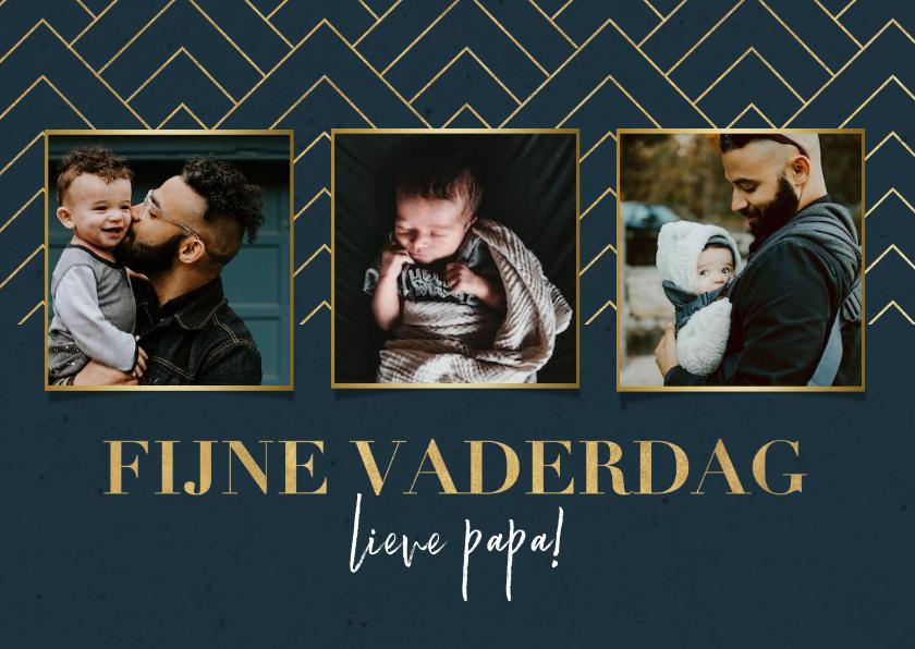 Fotokaarten - Stijlvolle fotokaart fijne vaderdag blauw met gouden patroon