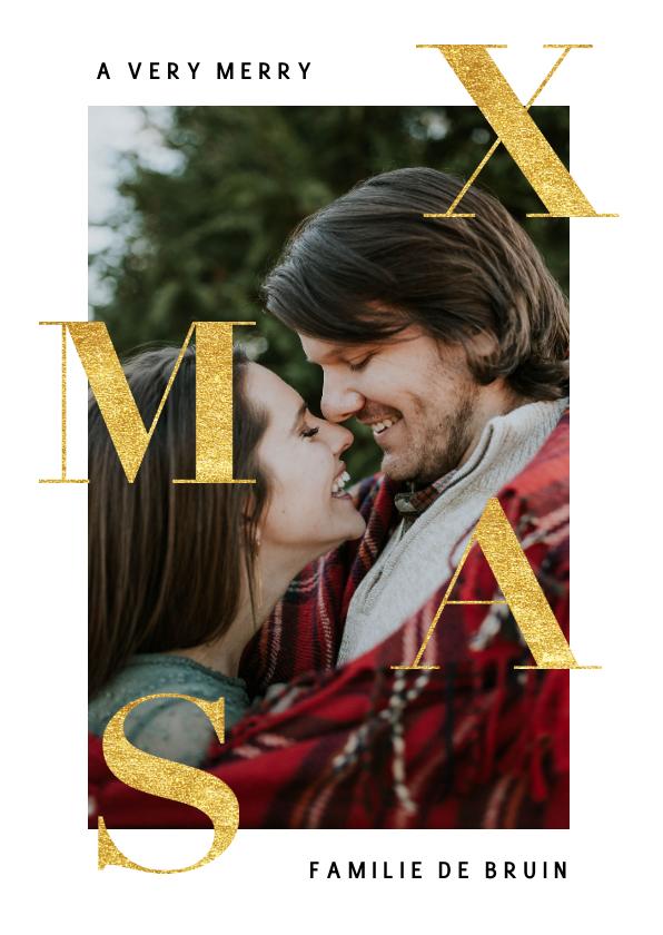 Fotokaarten - Stijlvolle fotokaart kerst met goudlook 'XMAS'
