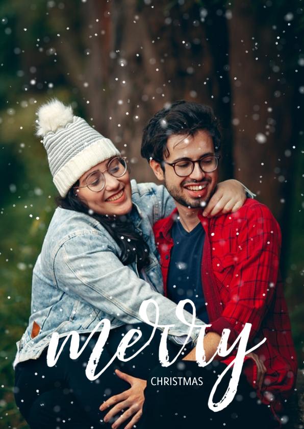 Fotokaarten - Stijlvolle fotokaart met sneeuw en merry christmas