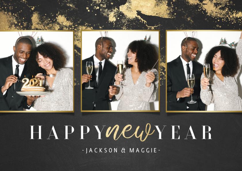 Fotokaarten - Stijlvolle happy new year fotokaart met gouden structuur