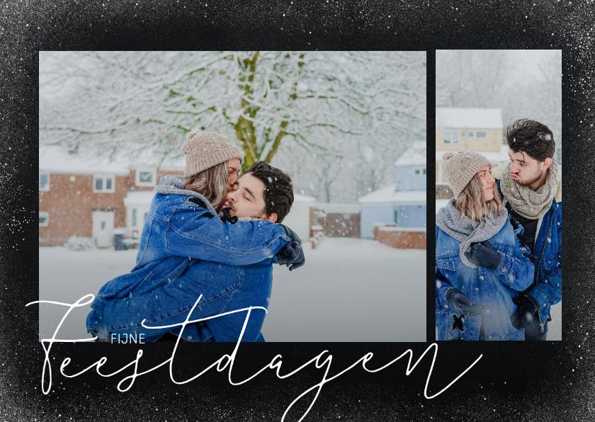 Fotokaarten - Trendy foto kerstkaart met sneeuw en fijne feestdagen