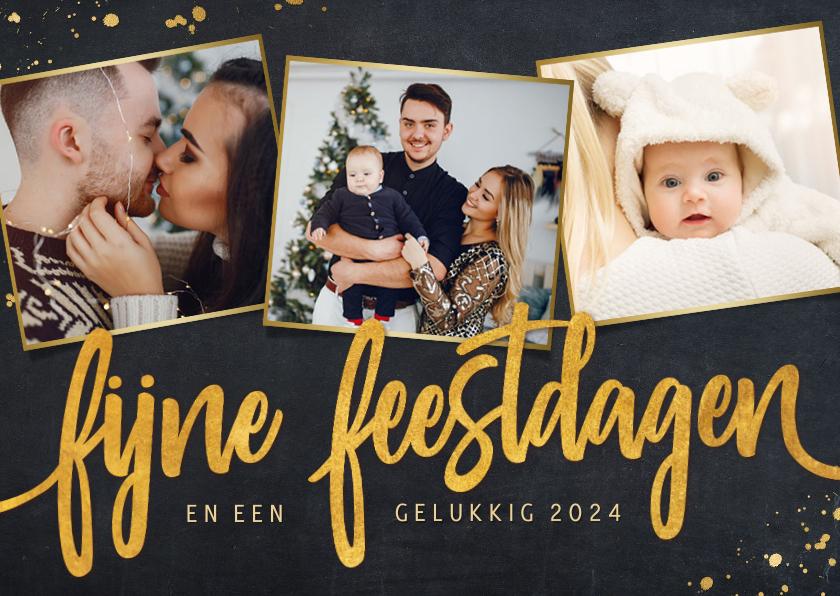 Fotokaarten - Zwarte fotokaart voor kerst met 3 eigen foto's en goud
