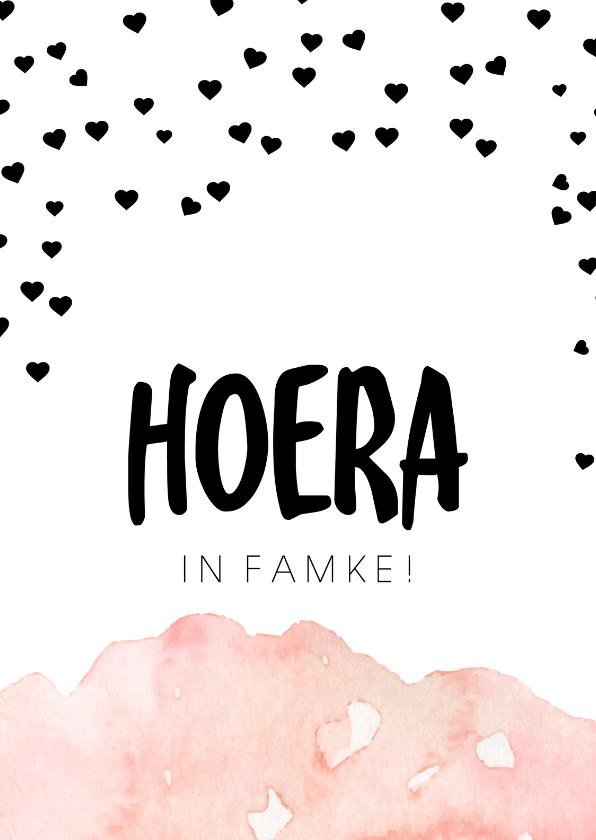 Fryske kaartsjes - Felicitatiekaart 'Hoera in famke!'