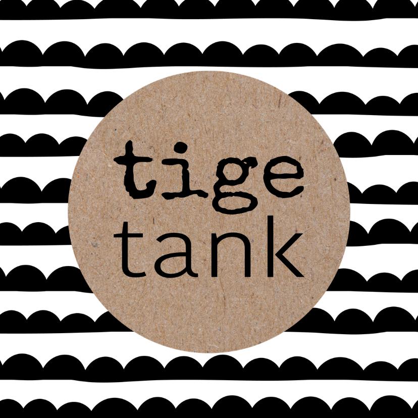 Fryske kaartsjes - Fryske kaart zwart wit kraft 'Tige tank'