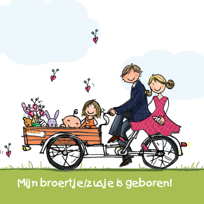 Geboortekaartjes - Bakfiets broertje zusje Anet Illustratie