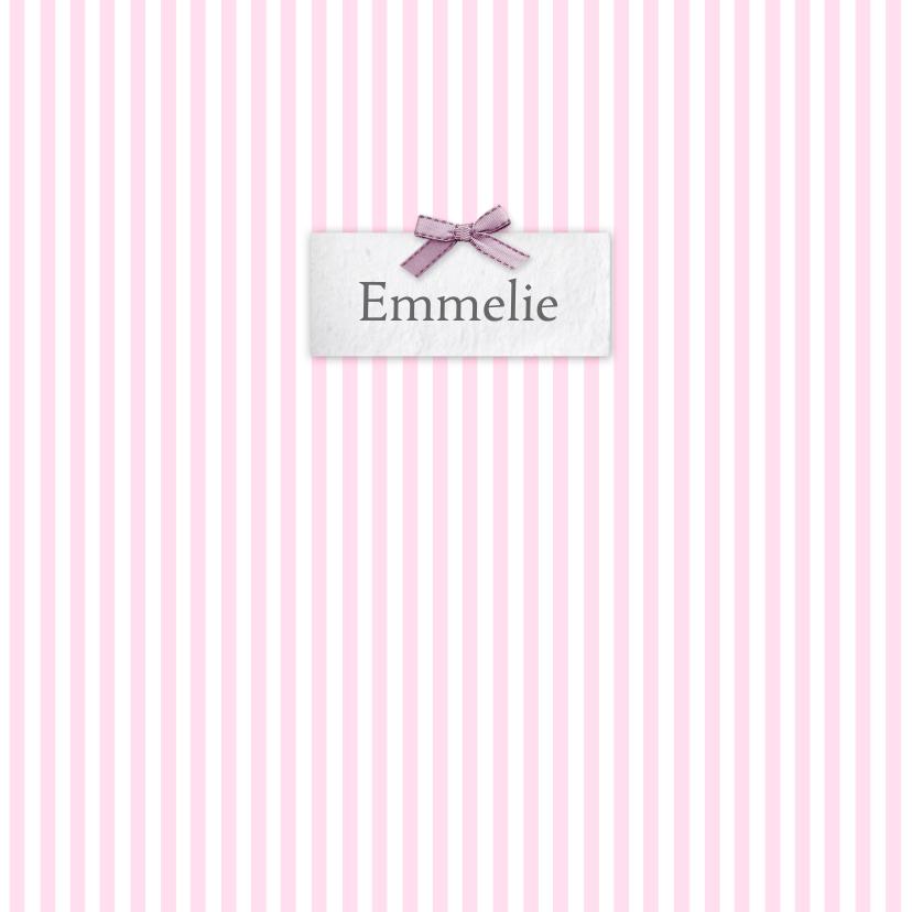 Geboortekaartjes - Bar creatief - Emmelie naamplaatje